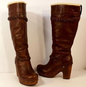 Size 8.5 to 9 UGG Leather Braided Boots Heels